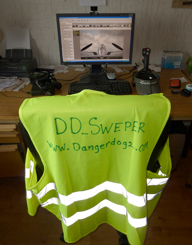 """DD_Sweper"" luminous jacket, donated by Colin, always at the back of my fav chair."